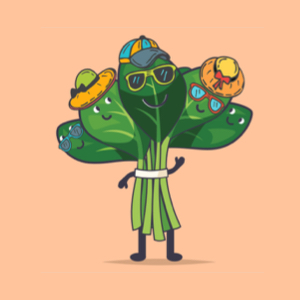 A cartoon bunch of spinach walking with sunglasses and a hat on.