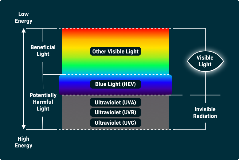 Color chart showing the different types of light that can be potentially harmful.