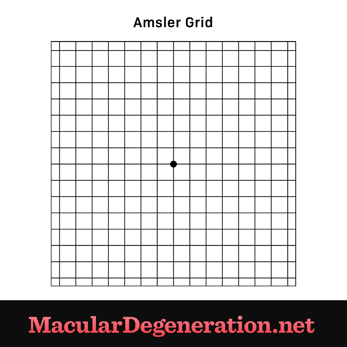 grid with a dot in the center to help determine what visual impairments are occurring and where they're located