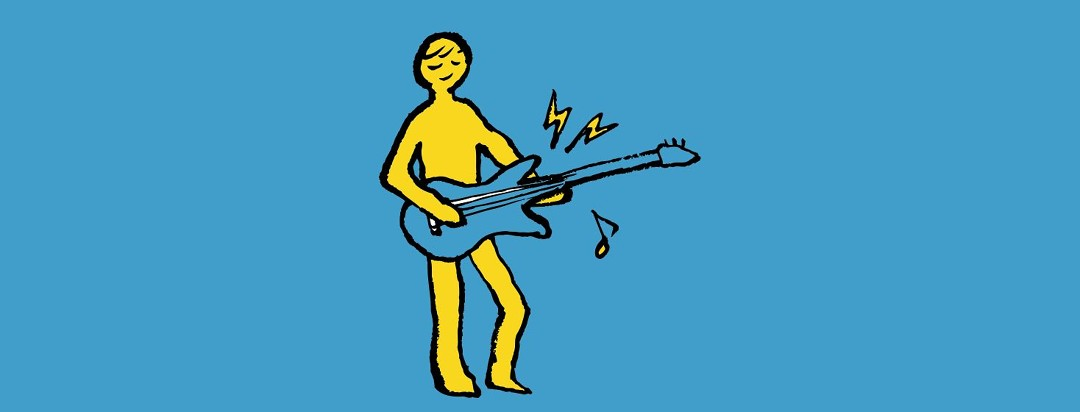 An illustrated person playing the guitar.