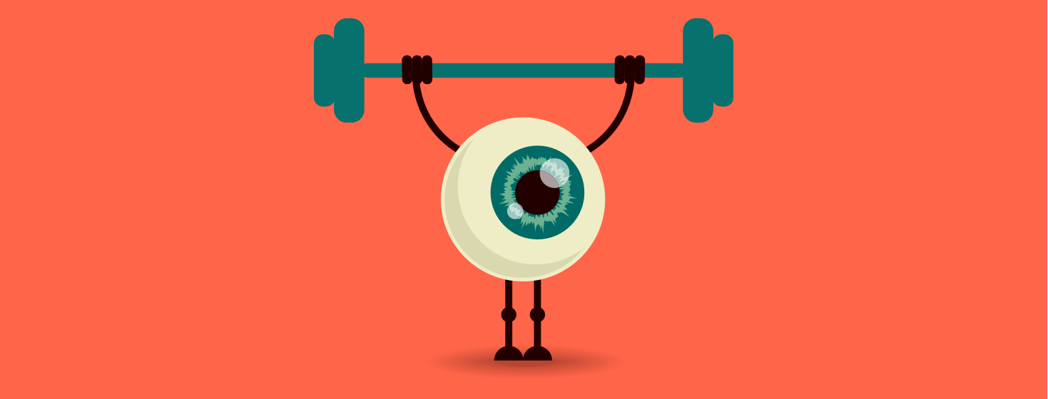 An eyeball lifting weights.