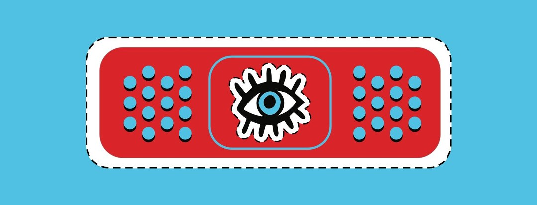 A red bandaid with a blue eye in the center.