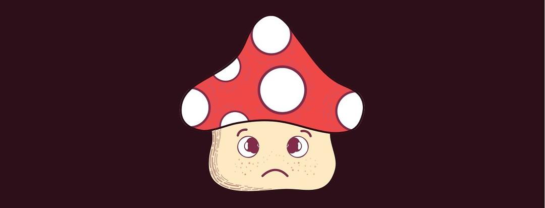 A sad mushroom alone in the dark.