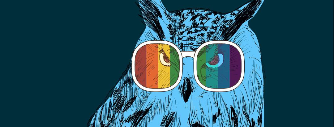 A blue owl wearing rainbow spectrum glasses.