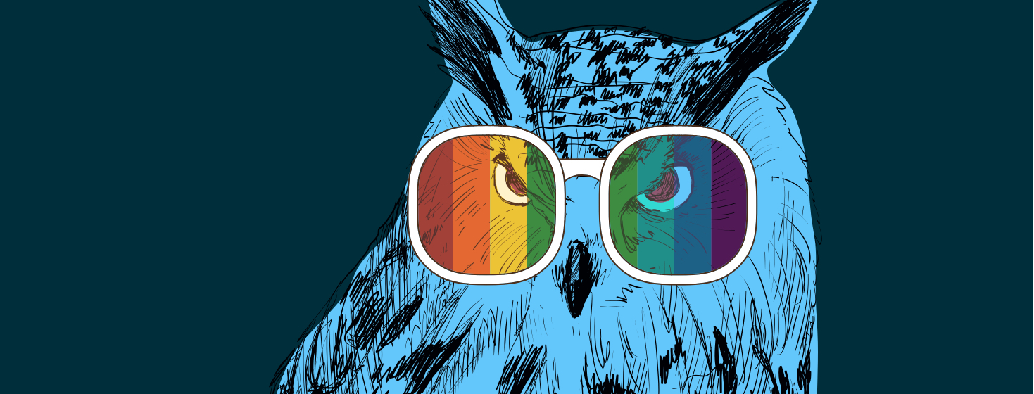 A blue owl wearing rainbow spectrum glasses.
