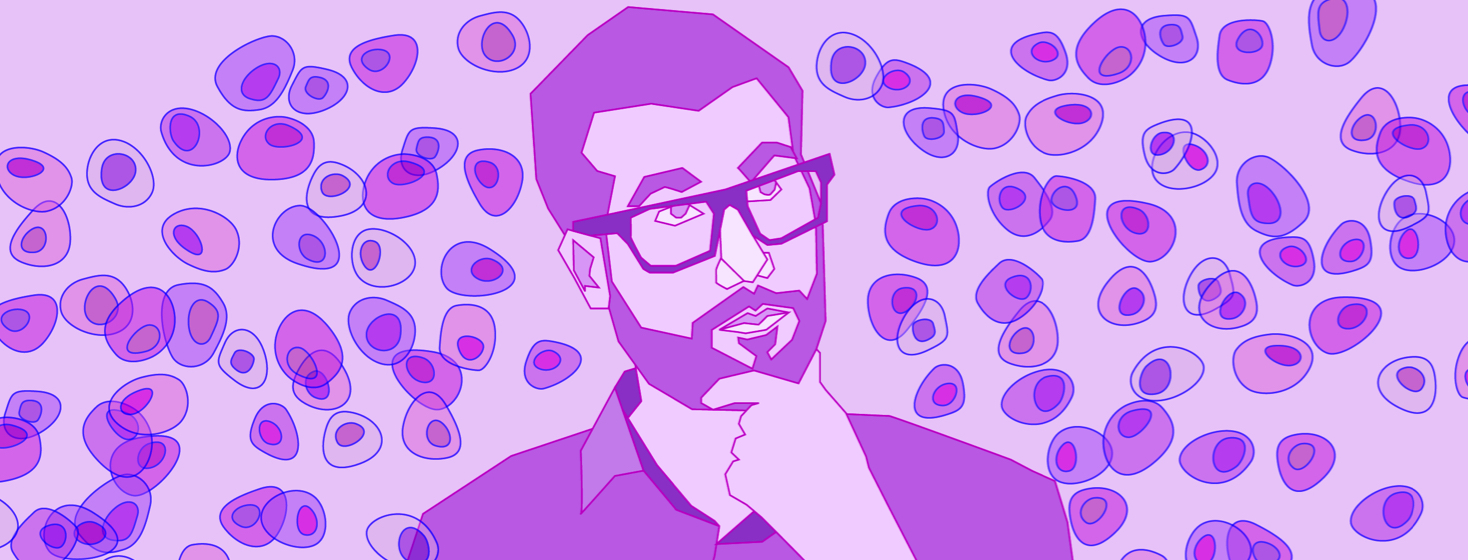 A man pondering something while scratching his beard and looking at cells floating by.