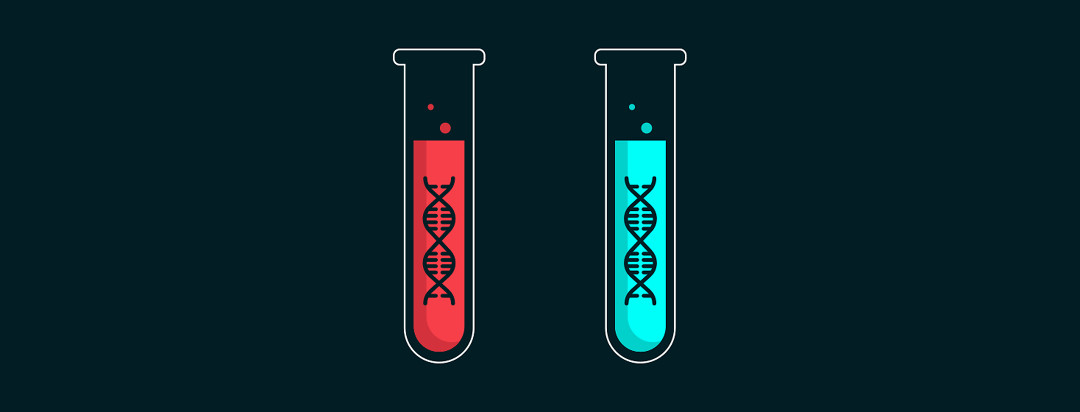 Two test tubes with DNA strands inside.
