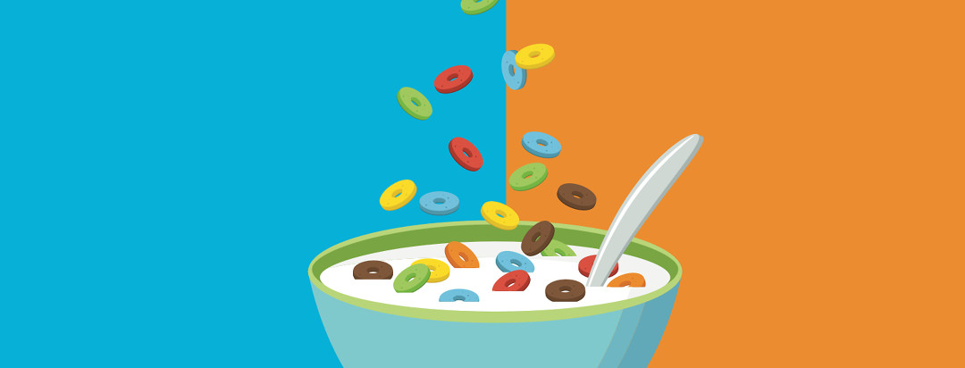 A bowl of cereal O's in multiple sugary colors.