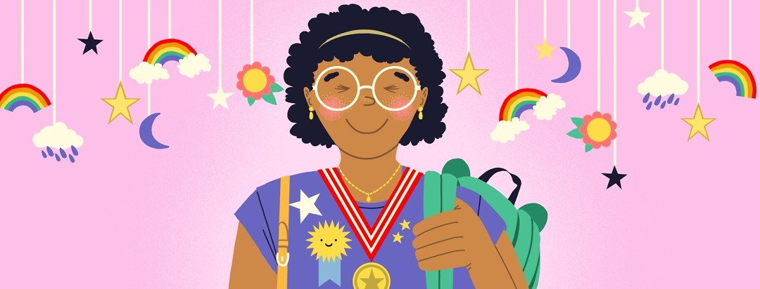 A happy and proud mom stands among a child's mobile featuring stars, clouds, and rainbows. She is holding a child's backpack on one shoulder and a purse on the other and on her shirt are ribbons and pins and gold stars. Around her neck is a medal.