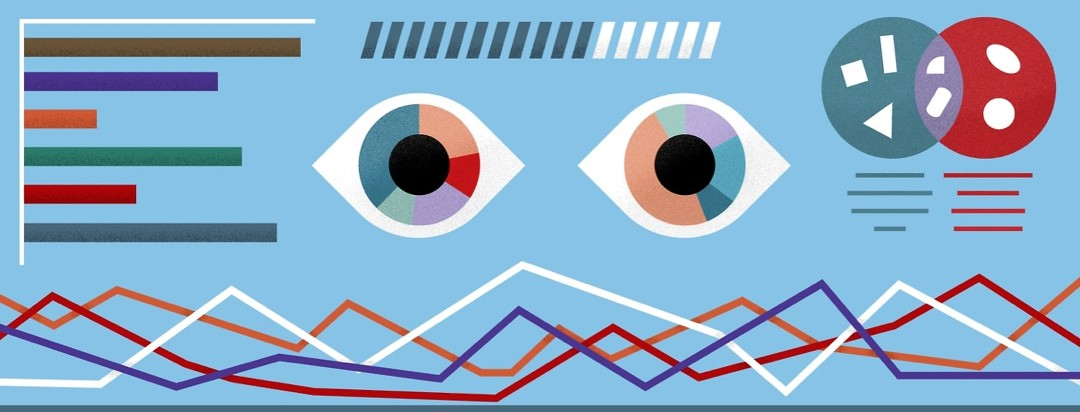 eyes surrounded by multiple graphs and data