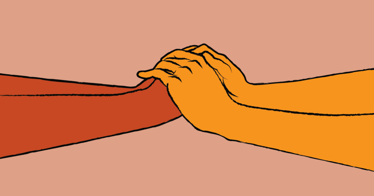 A set of hands reaching out and covering another set of hands.
