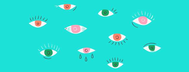 A plain blue background with a series of different illustrated eyes on top of it. Each eye is slightly different to signify different types of conditions.