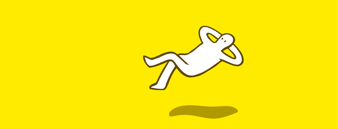 A figure leaning back and relaxing while floating in the air and doing absolutely nothing.