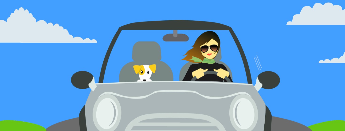 A young woman driving a car wearing sunglasses while her dog is sitting in the passenger seat.