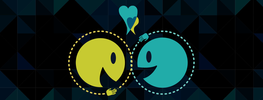 Two smiling animated faces that are high-fiving and sharing their heart story.
