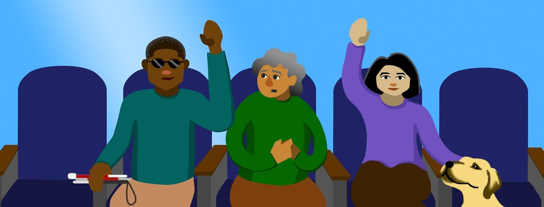Three people sit in a row of seats. The person in the middle wrings their hands and looks with hesitation at the two others, who have raised hands and obvious signs of blindness. One holds a folded cane and the other rests a hand on a guide dog.