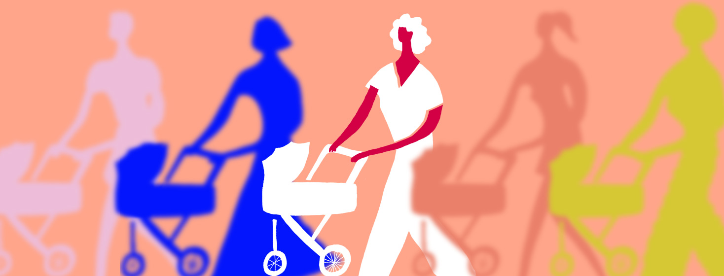 A mother pushing a stroller buggy while the other women surrounding her are out of focus or blurry.