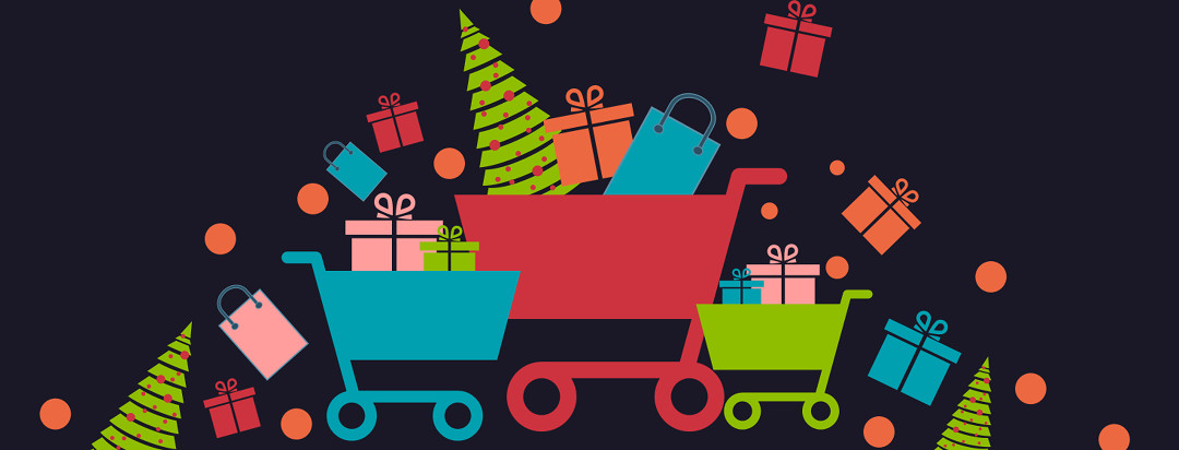 A series of colorful shopping carts overflowing with gift bags, boxes, and oranges.