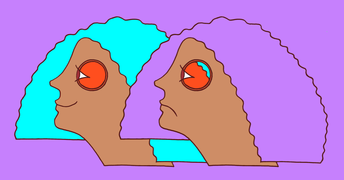 An image of a person beside themself. One side shows a smiling face and the complete inside of the eye. The other side shows a sad face with the inside of the eye peeling off.