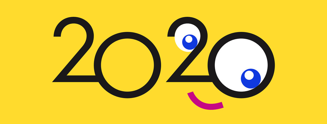 The number 2020 is shown to represent the new year. The last two numbers make a face with eyeballs in the two and zero.