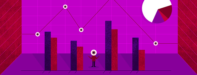 A small person with an eyeball for a head, standing surrounded by data shown by bar graphs, line graphs, and a pie chart.