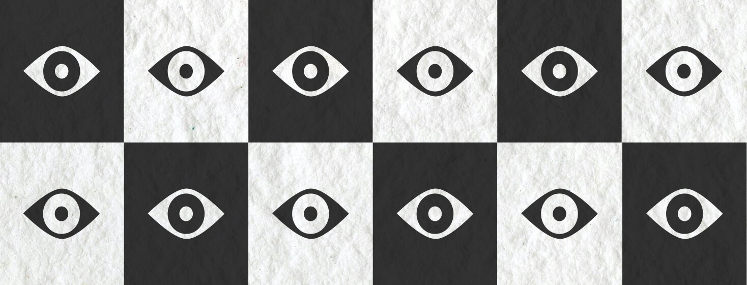 A black and white checkerboard pattern with eyeball icons on each square.