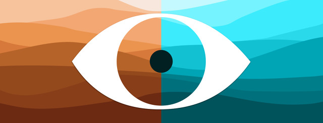 side-by-side illustration of a desert on the left that transitions to an ocean of waves on the right. The cutout of an eye straddles the line between both.