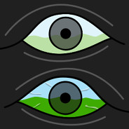 Two eyes stacked on top of one another one has flashing colors and the other has squiggly lines.