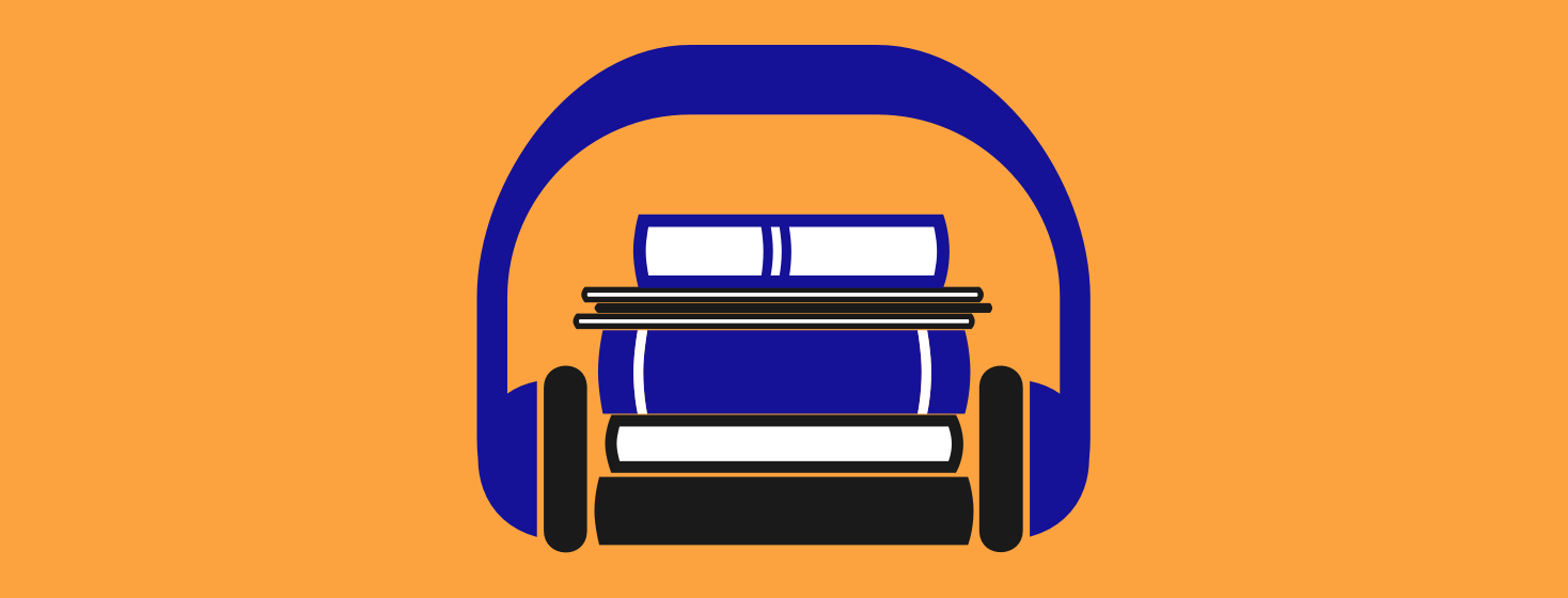 A pile of books and periodicals being held together with a set of headphones.