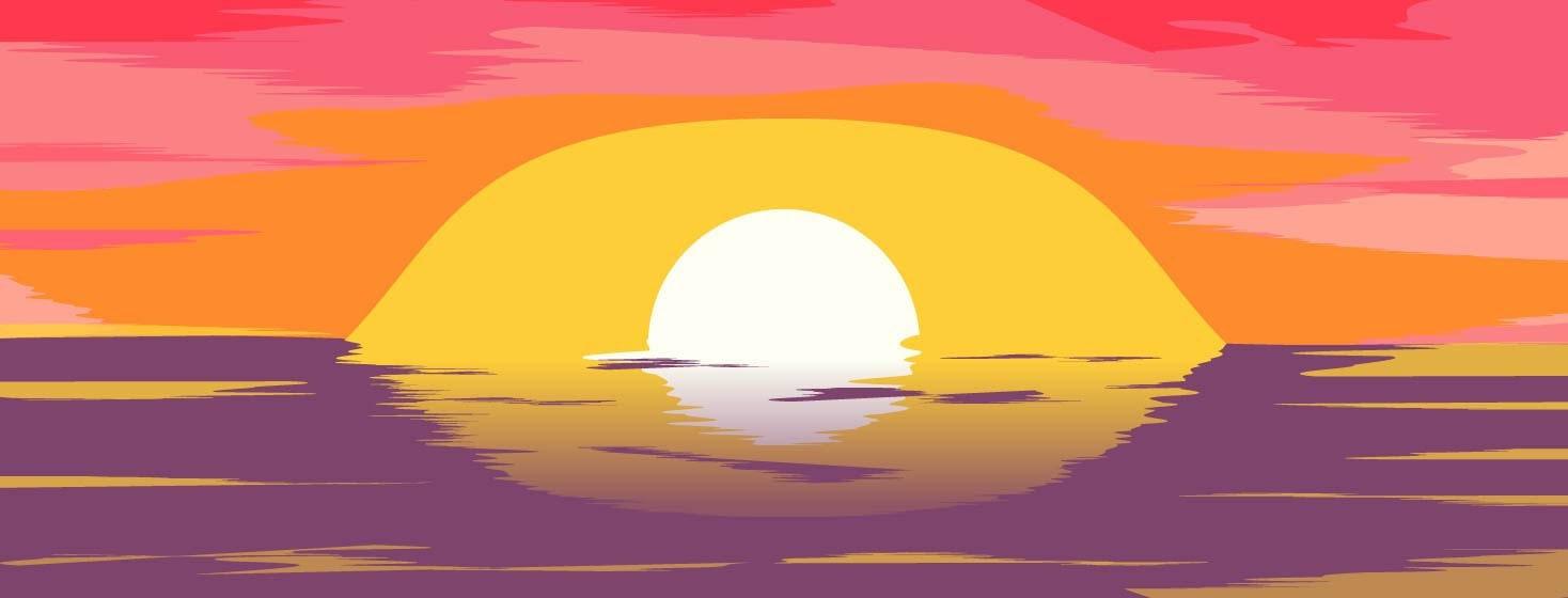 A sun shaped eye setting over water
