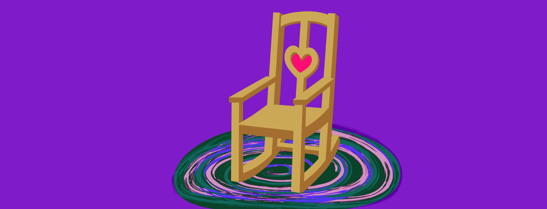 A rocking chair sits empty on top of a braided rug.