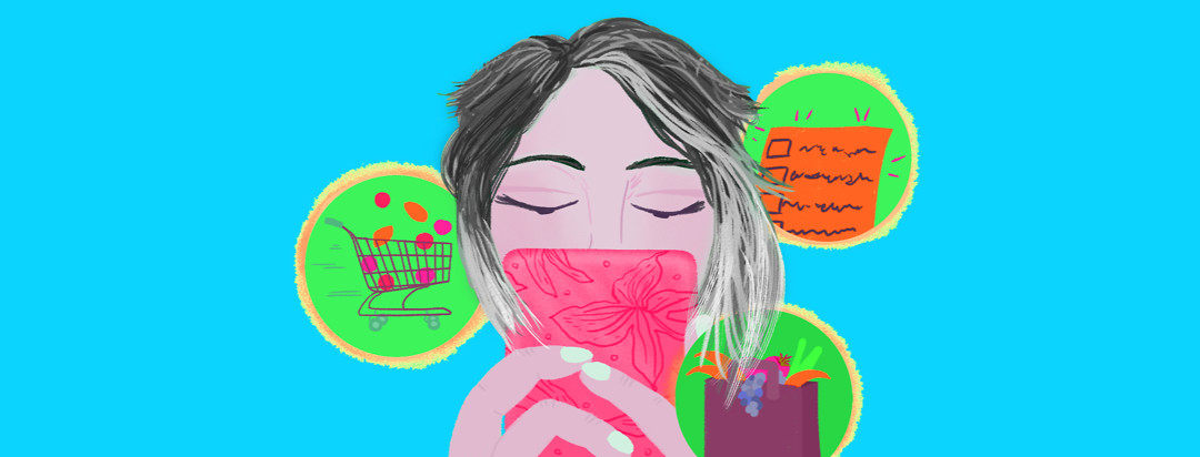 A woman with salt and pepper hair has a phone in front of her face. Bubbles from her phone include a shopping cart, a bag of groceries with food, and a shopping checklist.