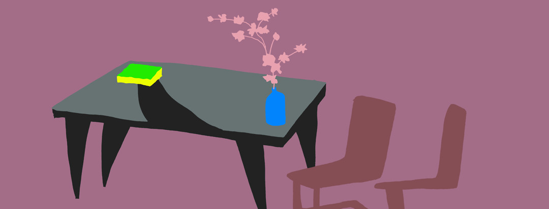 Muted colors in pinks and mauve show a table and chairs. On the table is a layer of dust and a bright green sponge wiping a path in the dirt.