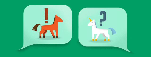 One speech bubble has a image of a horse. An adjacent speech bubble is questioning it and showing the picture of a unicorn.