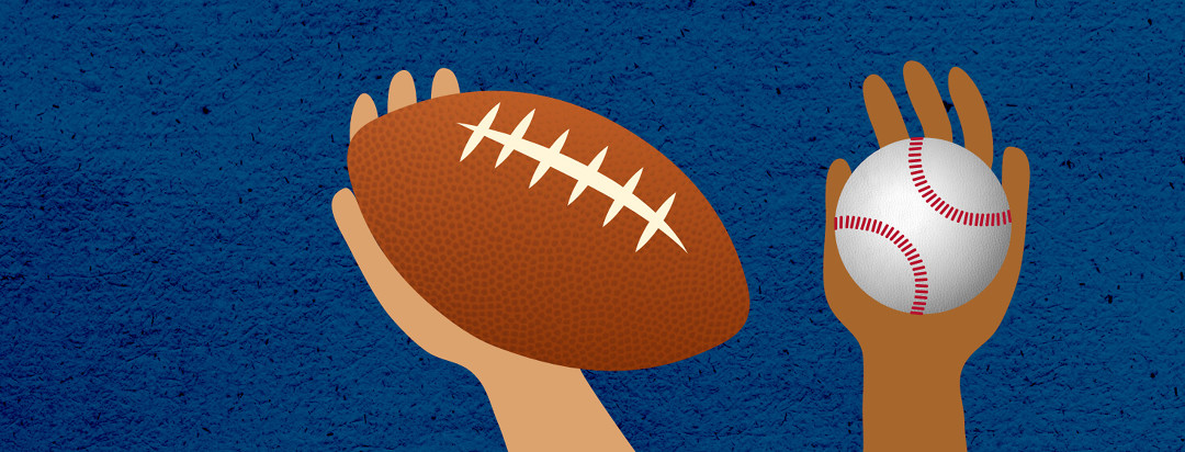 A side-by-side comparison of a hand clutching a football versus a hand grasping a baseball.