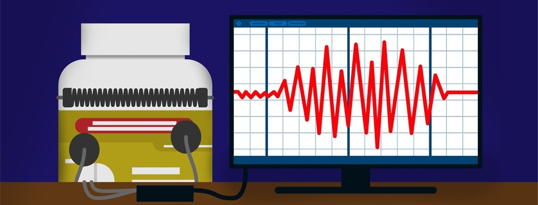 A pill bottle strapped to a lie detector and lying