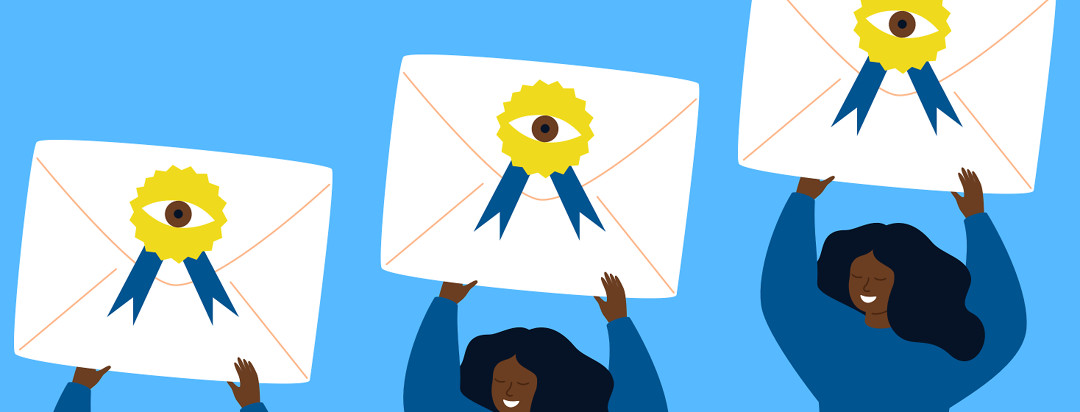 A woman is happily raising a letter over her head. It has a seal of approval on it with an eyeball in the middle.