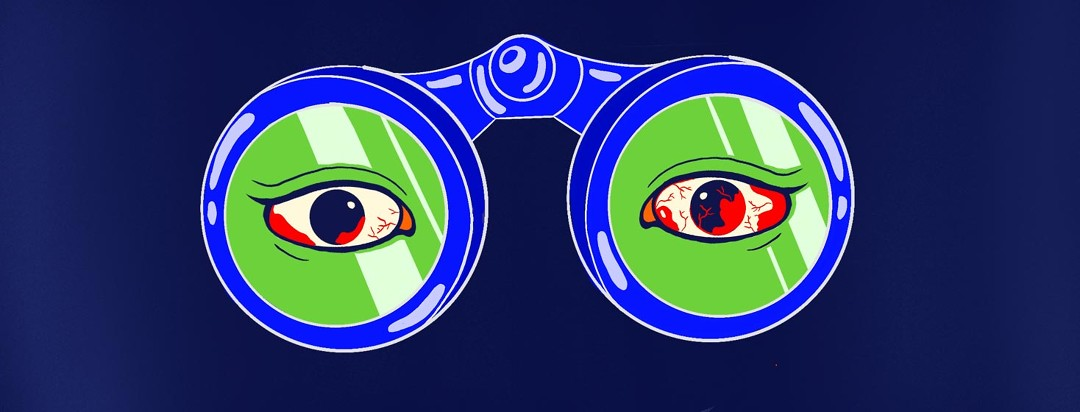 Two eyes visible through a pair of binoculars, one has more visible damage than the other