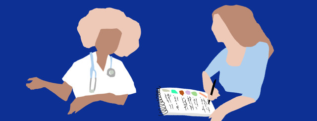 A patient is holding a clipboard full of questions and listening to a doctor speak.