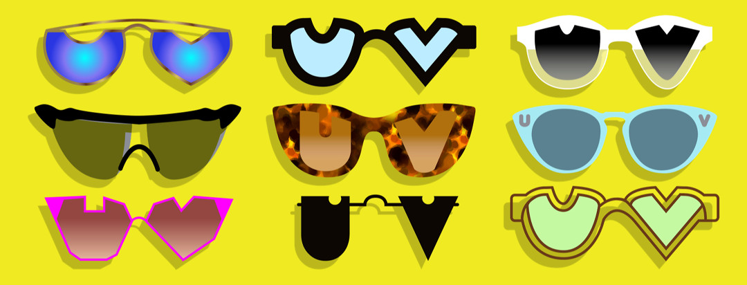A series of sunglasses in different shapes and styles. The lenses are in the shape of a U & V.