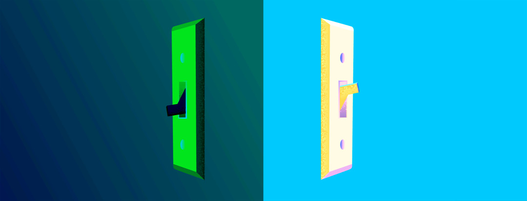 The point of view is looking at the corner of a wall. The left side has a lightswitch off in a dark room and the right side is much brighter with the light switch turned on.
