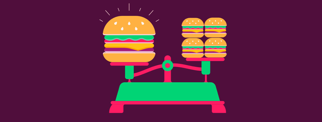 A kitchen scale with one extra large hamburger on the left and 4 mini slider burgers on the right.