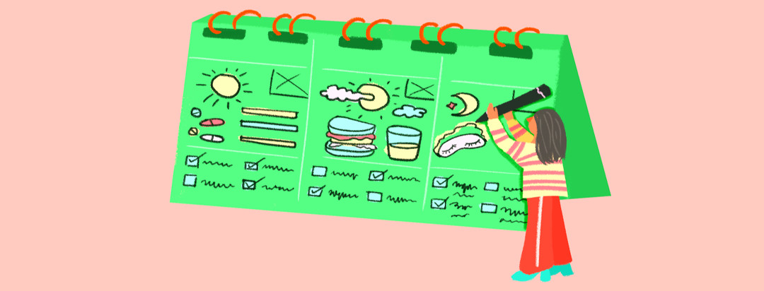 A woman with gray hair and heels holds an oversized pencil and draws a schedule on a large spiral planner. The planner page includes doodles of weather, food, hydration, medication, sleep, and more