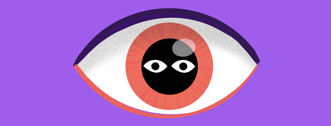 A floating eye with a set of someone else's eyes reflecting in the pupil.