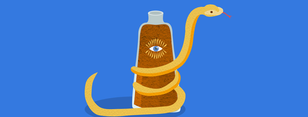 A glass bottle with brown liquid in it has a picture of an eye on the label. There is a yellow snake wrapped around the glass bottle.