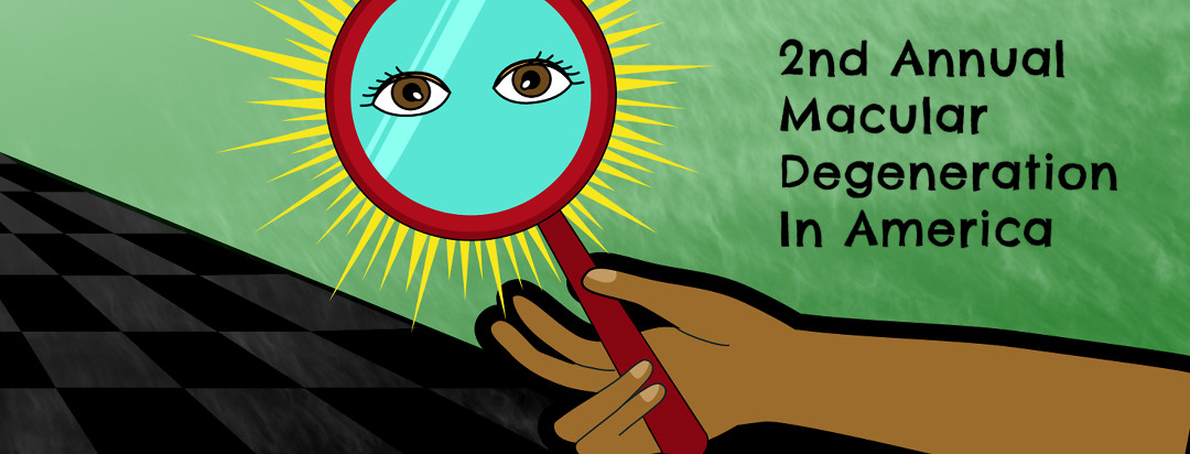 An outstretched arm is holding a hand mirror that has sun rays shining around it and a pair of open eyes reflected in it.