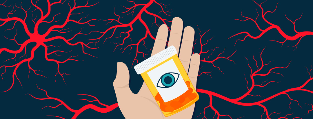 A hand is facing palm up with a medicine bottle in the middle. The orange pill container has red pills inside with an eyeball on the label. Behind the hand in the background are a series of red blood vessels scattered around like lightening.