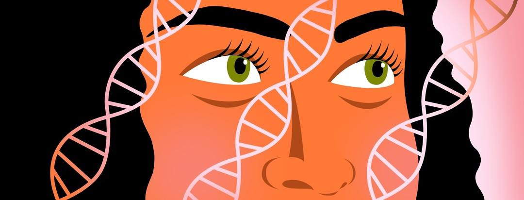 A woman looks at DNA strands passing over her face.