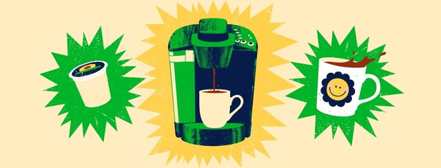 A Keurig coffee maker is framed by a k-cup and a mug of coffee, all emphasized by color bursts.