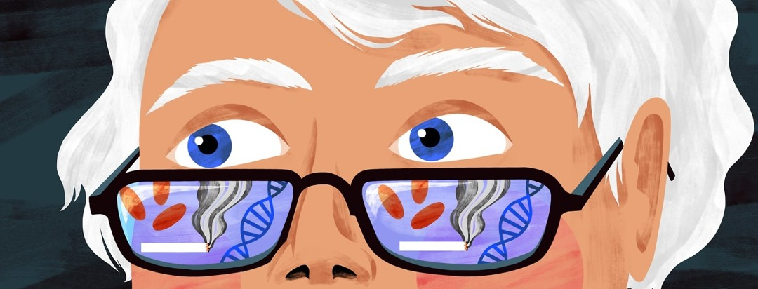 An older woman looks over her glasses, which are showing pills, a cigarette, and a DNA helix in reflected in the lens.